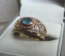 Welsh 9ct Clogau Gold Blue Topaz Celtic Ring  -  size Q