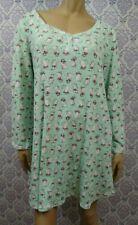 Karen Neuburger Nightgown Mint Green Kitty Cat Print Womens XL 18-20 Long Sleeve