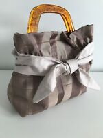 Gorgeous Handmade Taffeta Handbag With Bow And Tortoiseshell Style Handles