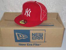 New Era 5950 NY NEW YORK YANKEES Red & White Cap MLB Baseball Fitted Hat 7 3/8