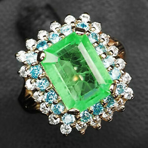 EMERALD GREEN OCTAGON 6.80 CT. SAPP 925 STERLING SILVER ROSE GOLD RING SZ 7.75