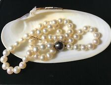 White Akoya Pearl Strand, 18in with Bakck Tahitian Pearl 11.5 mm, 14K Clasp