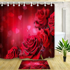 Red Rose Heart 70*70 Inch Waterproof Fabric Shower Curtain Bathroom Mat Hooks