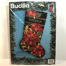 Bucilla 60725 Poinsettia Tapestry Needlepoint Stocking Kit Barbara Baatz Sealed