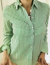 SIMONA SPORT WOMENS SHIRT STRIPED GREEN WHITE COTTON POLYESTER SZ 10