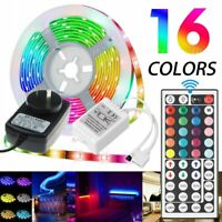 5M RGB 5050 SMD LED Strip Lights 44 Key Remote controller DC 12V Power Full Kit