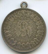 GS414 - Schützentaler Schweiz Basel 5 Franken 1879 Silber Schützenmedaille Öse