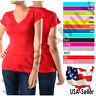 Women V-Neck Plain Basic Short Sleeve Casual Stretch Cotton T-Shirts Top Tee