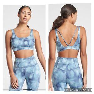 New! Athleta D-DD Exhale Printed Bra Serene Rivera Blue Size Large #531337
