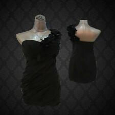 Size 8 Black One Shoulder Cocktail Formal Ball Evening Gown Party Mini Dress