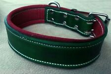 Green Leather Dog Collar & Soft Red Suede Leather Inner Lining