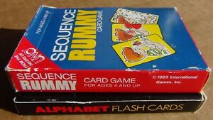 VTG  Sequence Rummy Card Game & Bicycle Kids: ABC Alphabet Flash Cards FREE SHIP