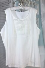 NEW ~ Plus Size 4X Ivory Off White Ruffle Silky Dressy Camisole Tank Top Blouse