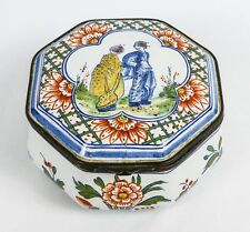 Antique French Faience Japonisme Ceramic Box with Geisha Girl Motif - Excellent