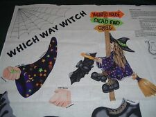 Vtg Halloween Which Way Witch Bat Broom Cut Sew Fabric Panel Wall Door Decor #bd