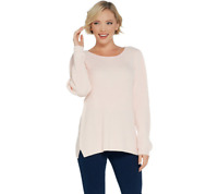 H by Halston Scoop-Neck Pullover Sweater with Sleeve Detail Pure Pink Size Small