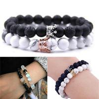 2Pcs Luxury Distance Couple Bracelets with CZ Crown Her King His Queen Bracelets