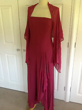 Monsoon mozzafiato Deep Pinky ROSSO 100% seta maxi EVE dress & Wrap UK 14