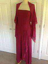 MONSOON stunning deep pinky red 100% SILK maxi eve dress & wrap UK 14
