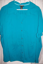 Lane Bryant Women's 28 Dark Turquoise Blouse Buttons Short Sleeves Cotton Blend