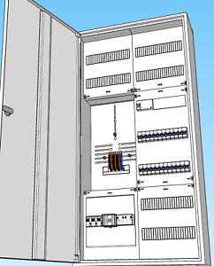Zählerschrank 1-Fam-Haus,3HZ,komplett,SLS3x35A,FI-Automaten,APZ,Überspannung