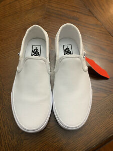Woman's Vans asher white canvas slip on sneakers Size 7.5 NEW
