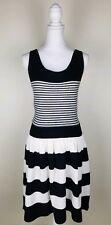 Jessica Simpson Medium Black White Stretch Knit Dress Sleeveless Striped Lylee