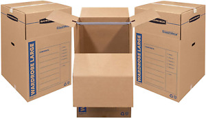 Bankers Box SmoothMove Wardrobe Moving Boxes, Tall, 24 x 24 x 40 Inches, 3 Pack