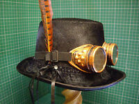 Gothic Steampunk/victorian top hat + welding goggles + Orange pheasant feather