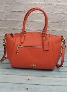 Coach Handbag Elise Satchel Bag Stunning Look Burnt Orange Leather Designer