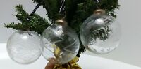 """Set of 3 Etched Clear Glass Kugel STYLE  Ball Etched  3"""" Ornaments Star, Peacock"""