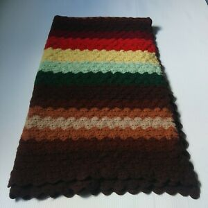 """Hand Crochet Knit Wool Blanket/Throw Multicolor  65"""" by 35"""""""