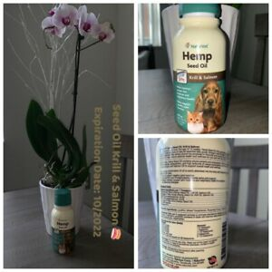 🐾NaturVet Hemp Seed Oil Plus Krill & Salmon Skin Joint Dogs Cats 8ozExp.11/22🐾