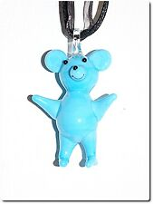 Collier pendentif verre style murano nounours bleu kawaï bijou cadeau rigolo.