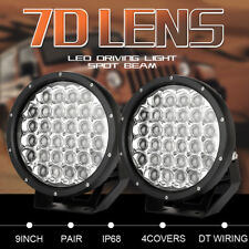 Pair 9inch  Round CREE LED Work Driving Spotlights 7D Lens Offroad 4WD ATV SUV