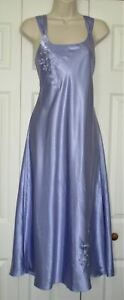 INNER MOST Lingerie Purple Satin LONG SLIP NIGHTGOWN sz M Embroidered Gown