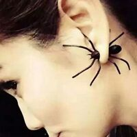 Halloween Spider Earrings Front and Back 3D Womens Punk Black Spider Studs