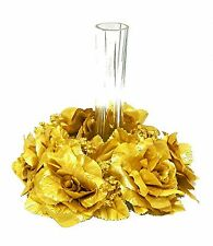 Candle Rings ~ GOLD ~ Silk Wedding Flowers Centerpieces Roses 50th Anniversary