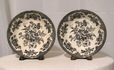 2 PC ROYAL STAFFORD SOUP CEREAL BOWLS BLACK & WHITE PHEASANTS BIRDS FLOWERS EUC