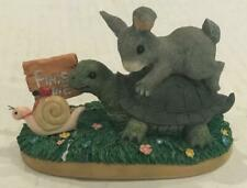 Steady Wins The Race~Charming Tails~Dean Griff Rabbit Turtle Snail Figure Ff Vtg