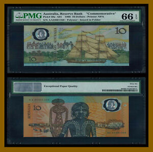 Australia 10 Dollars, 1988 P-49a A01 Polymer Commemorative W/O Folder PMG 66 EPQ