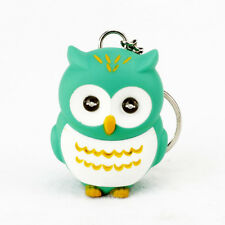 1X Novelty 3D Cartoon Owl LED Light Keyring Sound Hooting Key Chain Pendant Gift