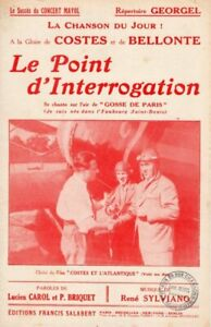 AVIATION - COSTES / BELLONTE - POINT D'INTERROGATION - 1929 - EXCEPTIONNEL ETAT