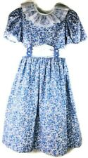 Girls Sylvia Whyte White Cotton Dress Short Sleeve Blue Floral Daisies Gift Girl
