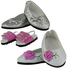 """MANGOPEACHES: 18"""" DOLL SHOE - 18"""" 3pc DELUXE SET - Sandals / Silver/ Rose shoes"""