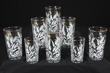 White Wheat Vintage Flat Tumblers Drinking Glasses 2 Juice 5 Oz & 6 Water 11 Oz