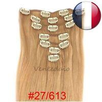 EXTENSIONS DE CHEVEUX A CLIPS 100% NATURELS REMY HAIR 53CM MIXTE 27/613