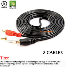 6ft Gold Aux Audio 3.5mm Stereo Male to 2 RCA Y CABLE FOR IPOD MP3, 2-Pack