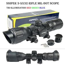 SNIPER 3-9x32 Tactical Scope Mil Dot RGB Ill Front AO /w Picatinny Rings & Caps
