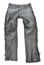 """Black Real Leather Lace Up Motorcycle Biker Men's Trousers Pants Size W31"""" L31"""""""
